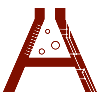 The company logo in the shape of the letter 'A' where the top portion looks like a beaker. The left side shows beaker measurments while the right side has circuit board etchings.