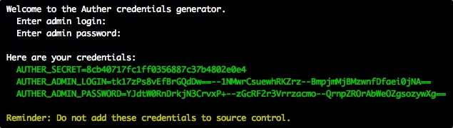 Credentials Generator Screenshot